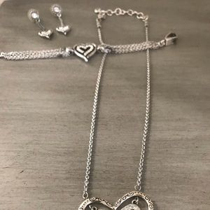 Brighton silver necklace, bracelet and earrings